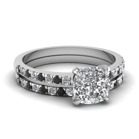 cushion cut engagement rings with black in