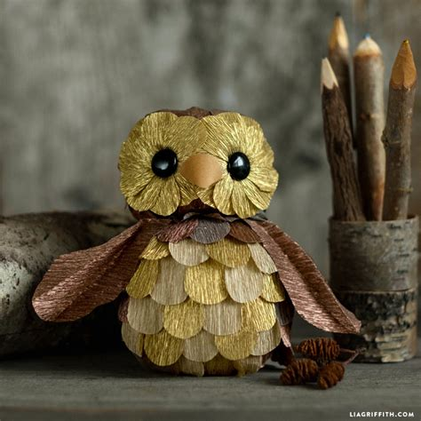 Paper Owls - foam and crepe paper owl lia griffith