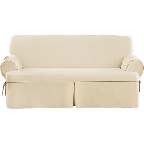 t sofa slipcover sure fit cotton duck sofa t cushion slipcover reviews