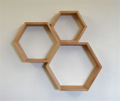 hexagon wooden shelf set tasmanian oak