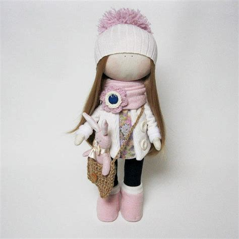 Handmade Cloth Doll - handmade cloth doll with pink bunny soft from juliettadoll on