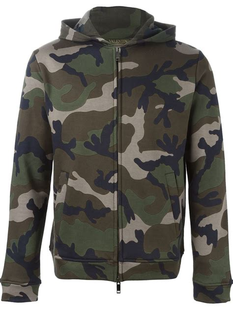 camo print hoodie lyst valentino camouflage print hoodie in green for