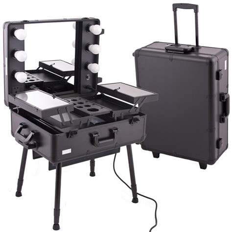 Portable Vanity Table Black Studio Makeup W Light C6010
