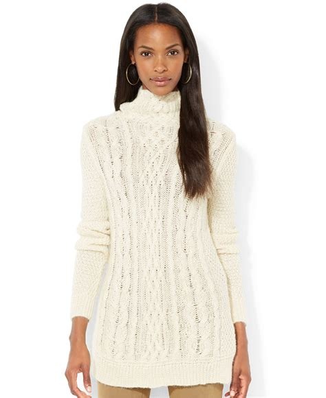 cable knit tunic sweater by ralph cable knit turtleneck tunic