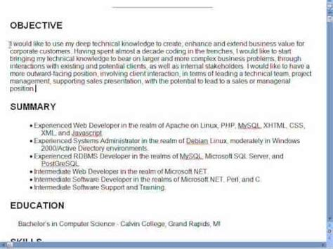 Resume Definition Sentence Creating A Great Resume Part 2 Objectives Screen Eo Now News