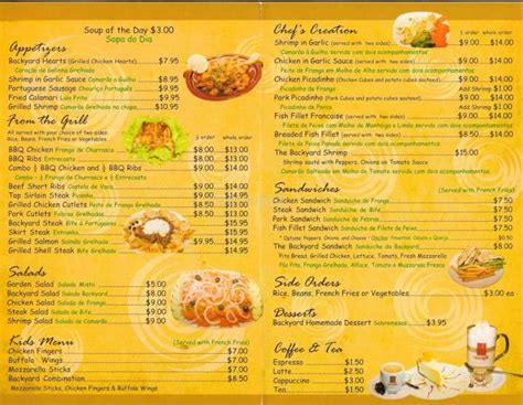 Backyard Cafe Menu by Restaurant Menu Menupix