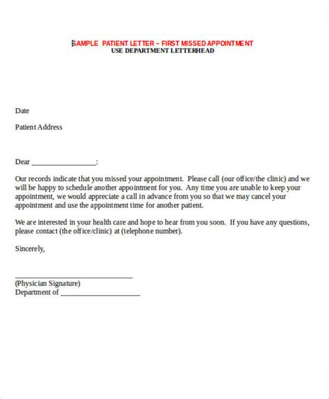 missed appointment letter template word