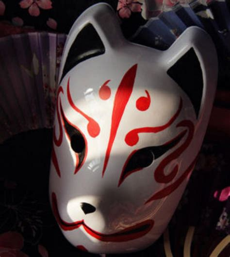 full face hand painted japanese fox mask kitsune cosplay