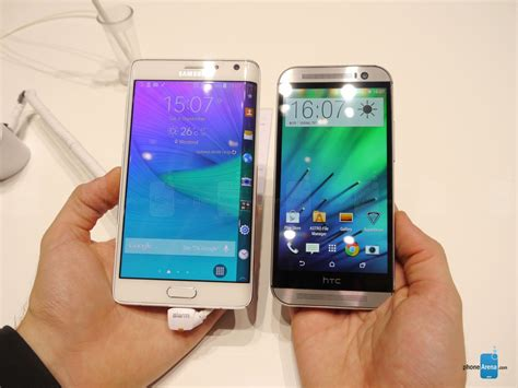 samsung galaxy note edge vs htc one m8 look phonearena