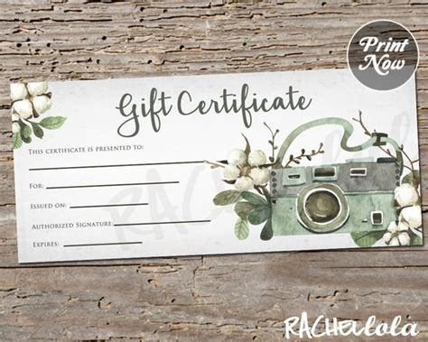 Floral Cotton Camera Printable Gift Certificate Template Photography Session Spring Summer Gift Certificate For Photography Session Templates
