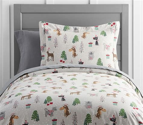 pottery barn christmas bedding holiday dog flannel duvet cover pottery barn kids