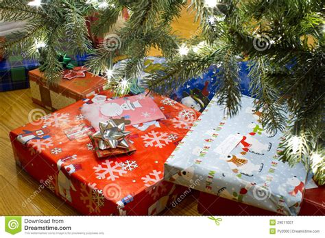 gifts under christmas tree stock image image of floor