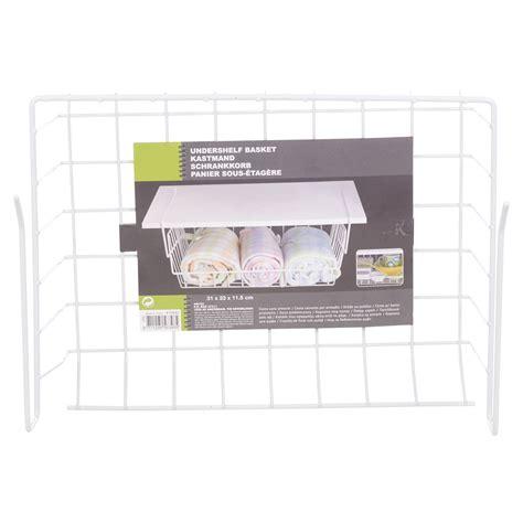 under cabinet basket storage white under shelf table storage basket rack kitchen wire