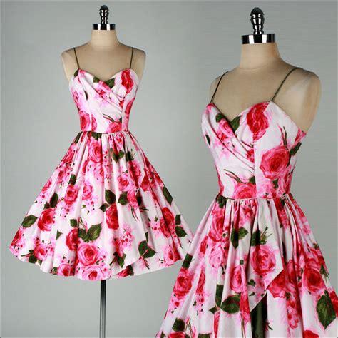 Dress Pink Floral vintage 1950s dress tabak ca pink floral print cotton