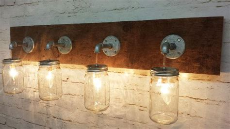primitive bathroom vanity lights mason jar 4 light fixture rustic reclaimed barn wood mason jar hangin