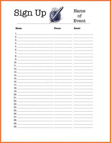 Volunteer Sign Up Sheet Template Free by Volunteer Sign Up Sheet Artresume Sle