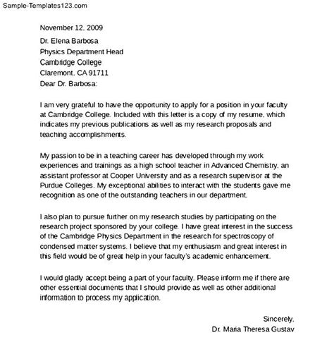 faculty cover letter format sle templates