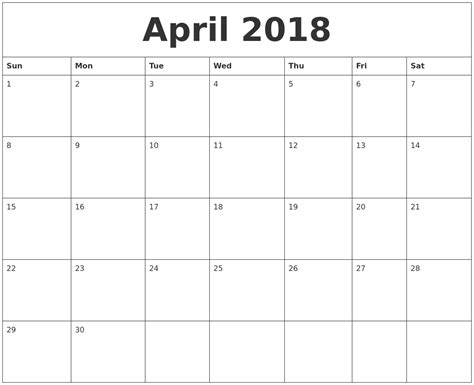 blank monthly calendars pdf april 2018 blank monthly calendar pdf