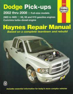 free online auto service manuals 2002 dodge ram van 1500 seat position control 2002 2008 dodge ram pick ups 2 4wd v6 8 10 gas cummins td haynes manual