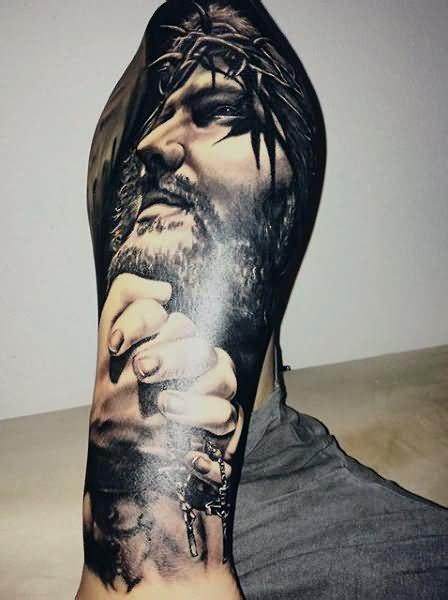 tattoo 3d jesus 35 christian tattoos on full sleeve