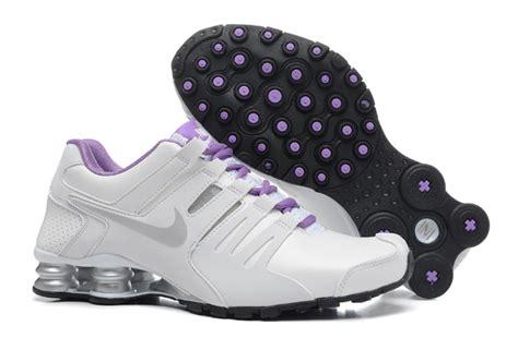 nike shox tennis shoes nike shox current white silver purple tennis shoe for