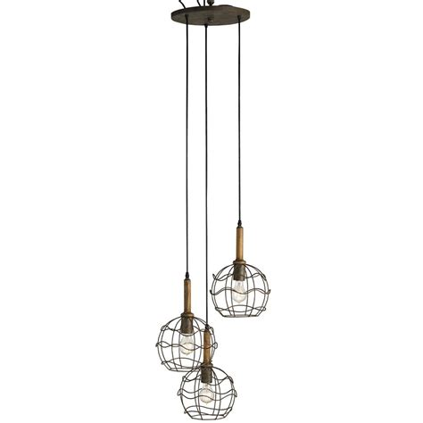 Wire Pendant Lighting Emery Industrial Loft Wire Frame Trio Pendant Light Kathy Kuo Home