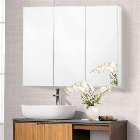 wide wall mount mirrored bathroom medicine cabinet