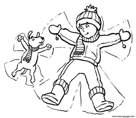 snow dogs coloring pages dog and kid in snow winter sfa03 coloring pages printable
