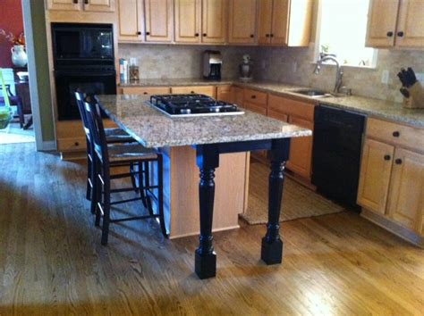 kitchen island support legs and skirt make a beautiful