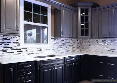 modern espresso kitchen marble glass backsplash tile