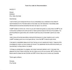 thank you letter for recommendation 9 free word excel