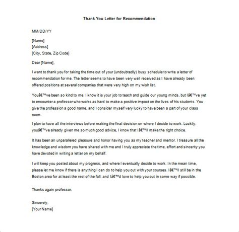 Thank You Letter Template For Letter Of Recommendation Thank You Letter For Recommendation 8 Free Sle Exle Format Free Premium