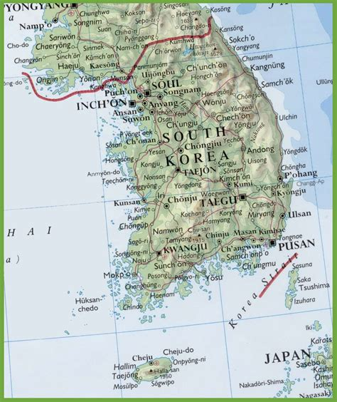 map of south korea map of south korea with cities and towns
