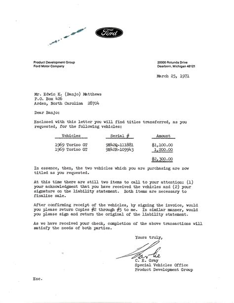 Ford Motor Credit Letter Marti Report Ford Documentation And More Talladega Prototype Information On Collecting Cars