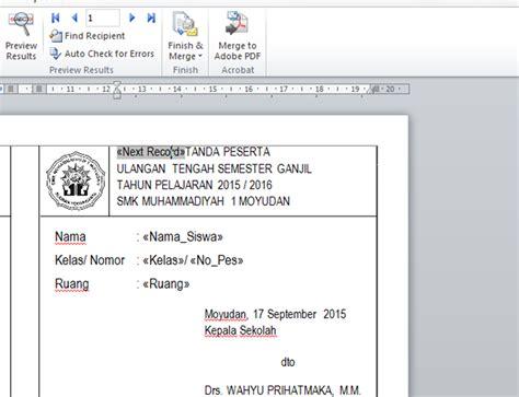 membuat rapor dengan mail merge fardian imam m membuat kartu ujian dengan mail merge dan