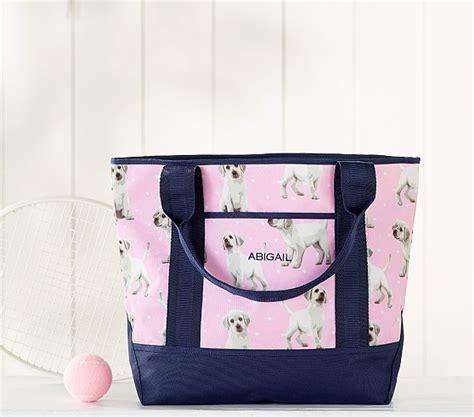 mackenzie pink navy puppy  school tote bag
