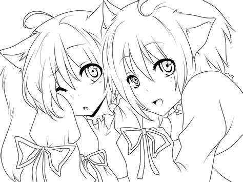 Comission Twin Nekos By I Xs Pain Cooomishes On Deviantart Anime Neko Coloring Pages Printable