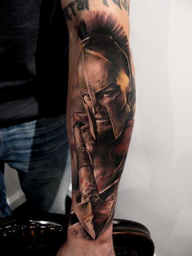spartan quarter sleeve tattoo movie 300 tattoo on arm