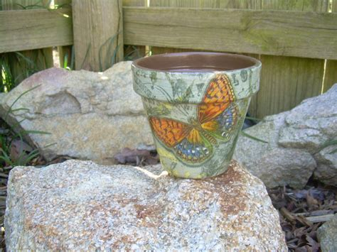 Decoupage Flower Pots - handmade decoupage brown clay flower pot butterfly