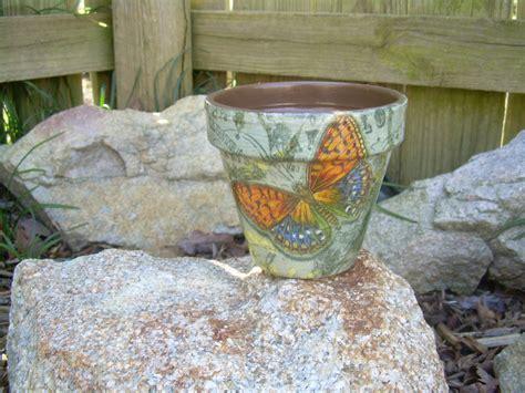 Handmade Pot - handmade decoupage brown clay flower pot butterfly