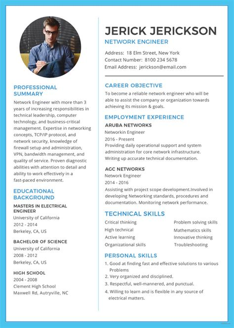 network engineer resume sles resume template 42 free word excel pdf psd format