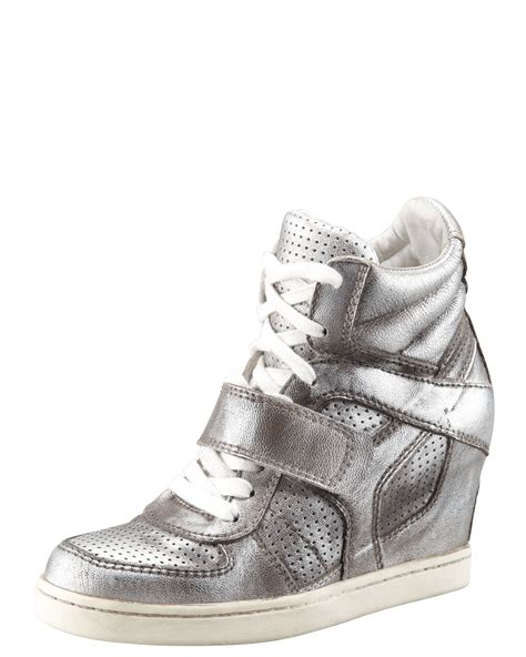 ash leather wedge sneakers ash metallic leather high top wedge sneaker in silver lyst