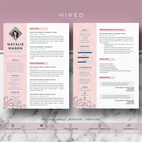 creative resume templates for word creative resume template for ms word quot natalie quot hired