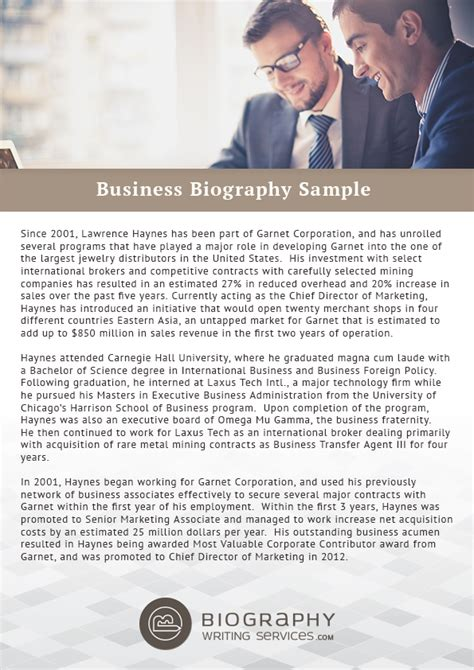 biography exles for business write a business biography everything you need to know