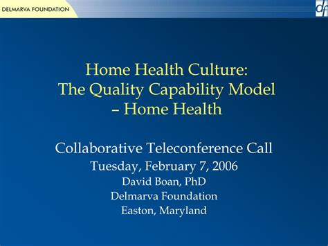 ppt home health culture the quality capability model