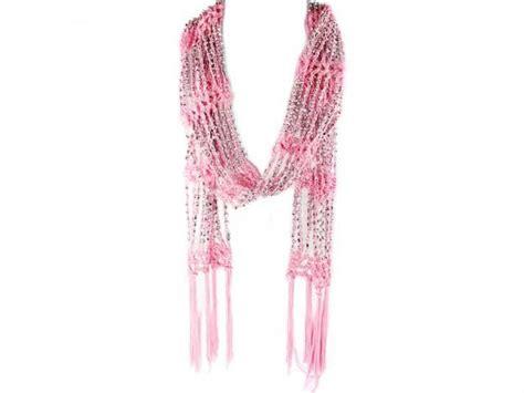 light pink crochet silver beaded scarf