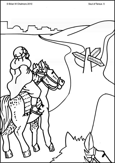 Saul Of Tarsus Flip Chart Ebibleteacher Saul On The Road To Damascus Coloring Page