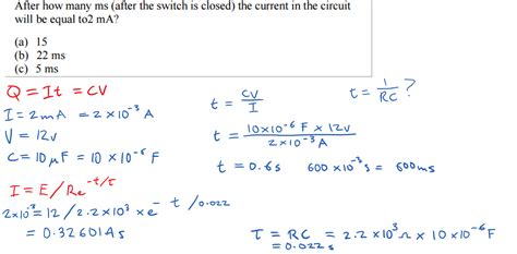 capacitor circuit equations how do i work out the time when given current in a rc circuit electronicsxchanger queryxchanger
