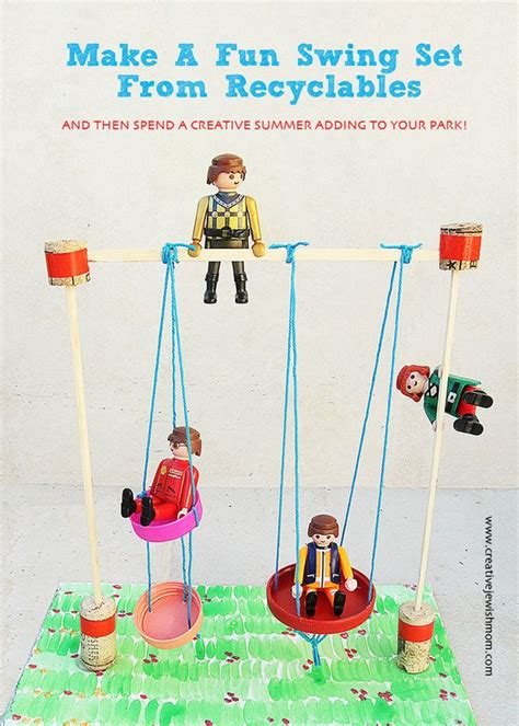 swing craft miniature swing set craft from recyclables for creative