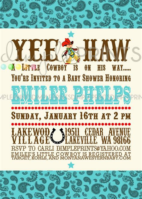 Vintage Western Baby Shower Invitations by Vintage Cowboy Printable Baby Shower Invitation Dimple